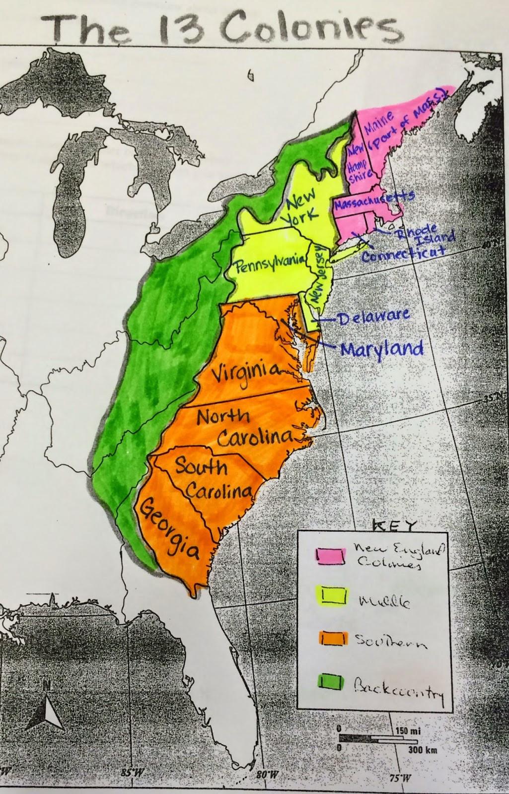 13 Colonies Map Worksheet