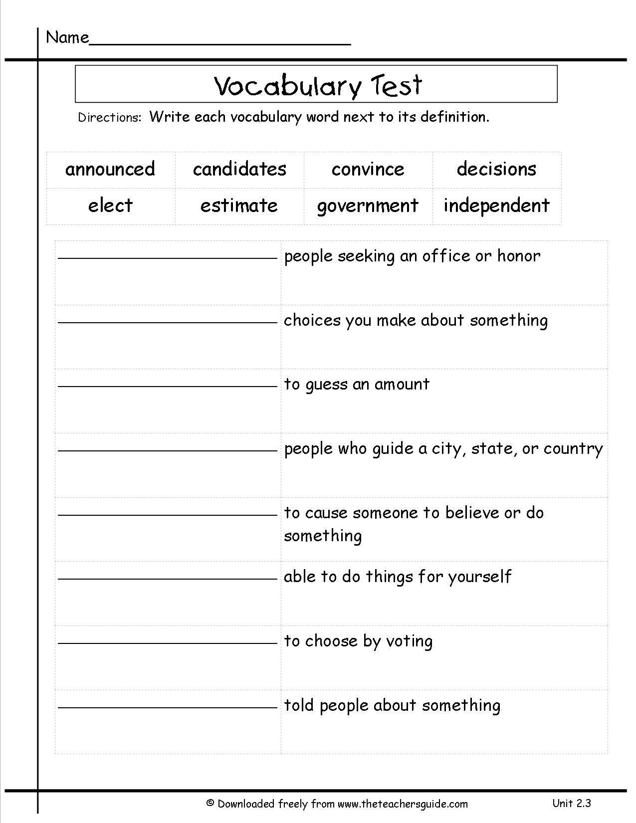 2nd Grade Vocabulary Worksheet