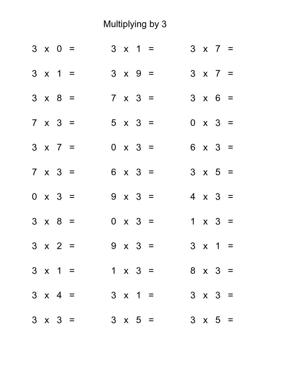 3 Times Tables Worksheet Fun in 2020