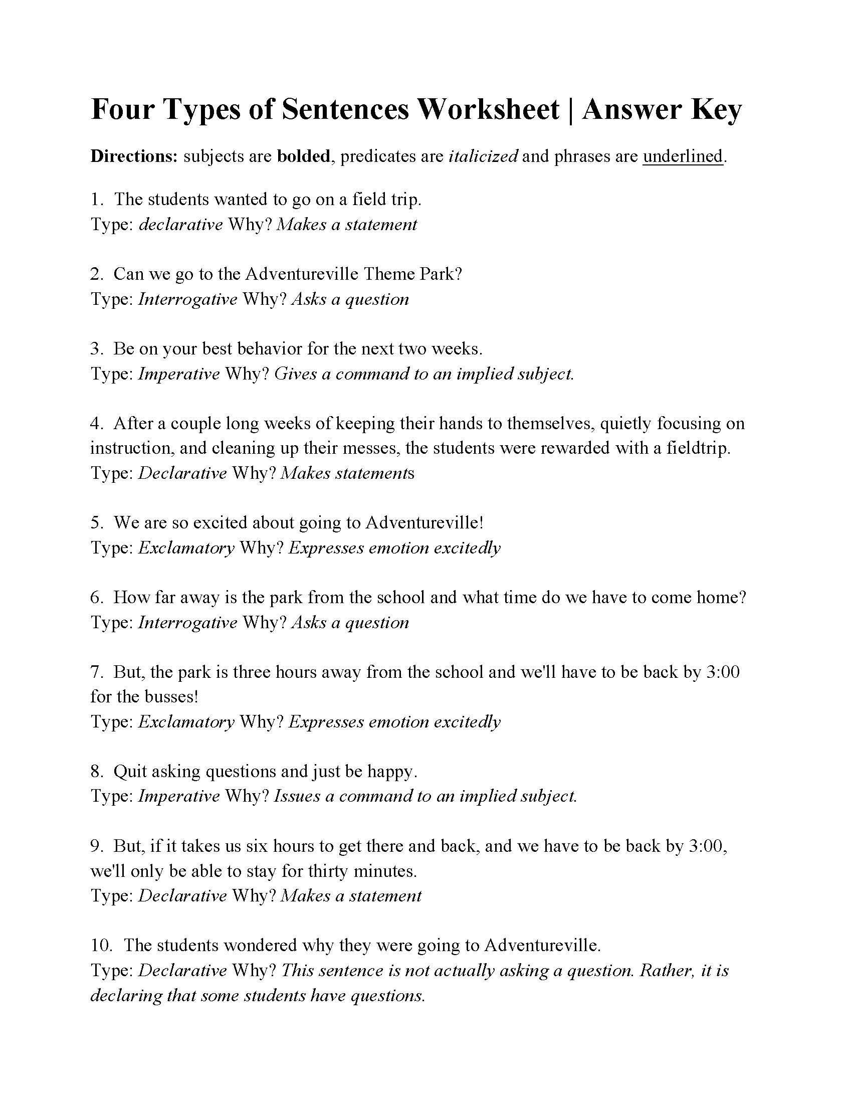 Four Types of Sentences Worksheet