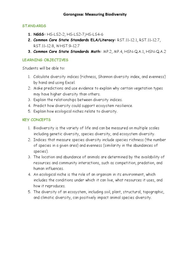 6 3 Biodiversity Worksheet Answers