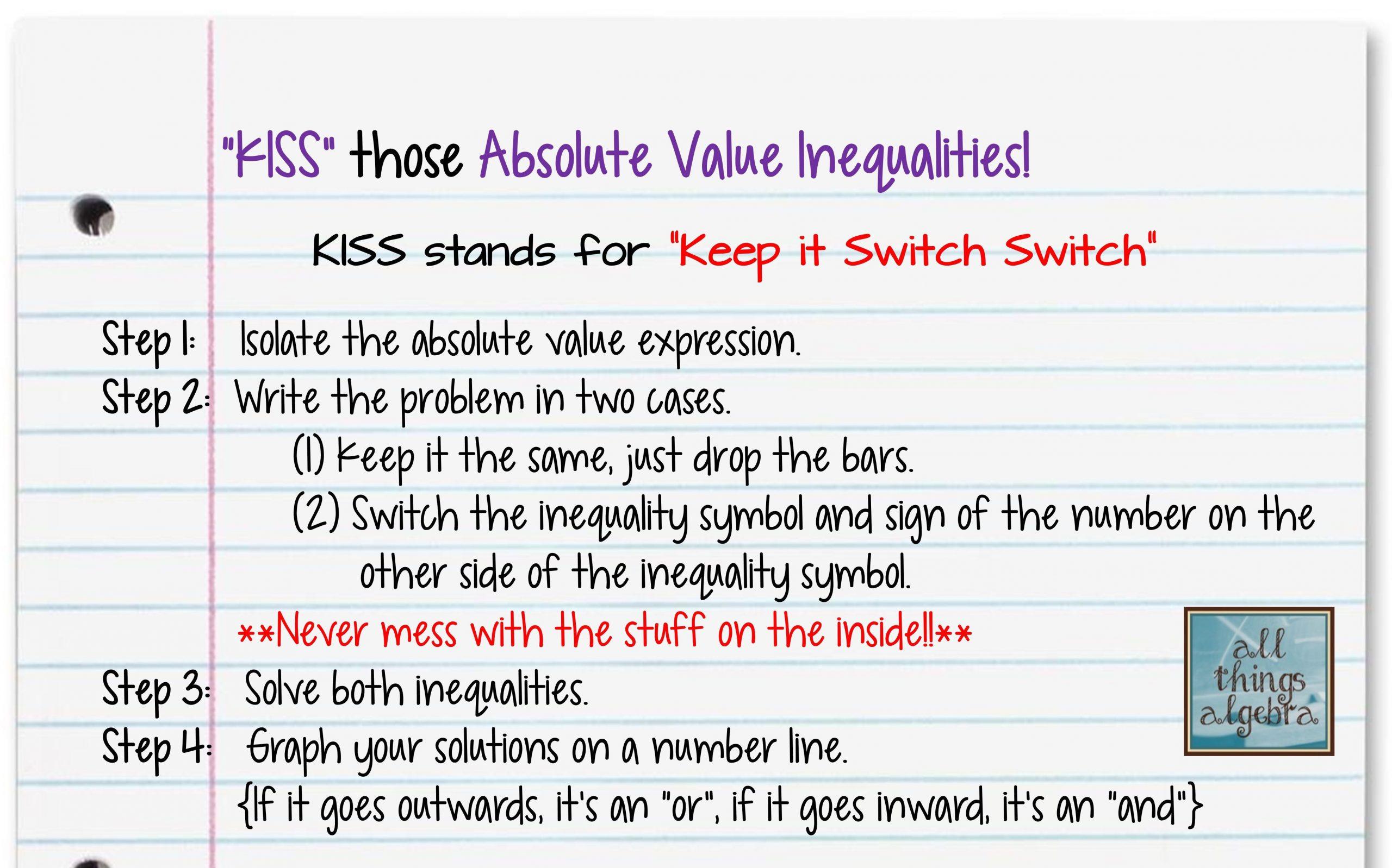 Absolute Value Inequalities Worksheet