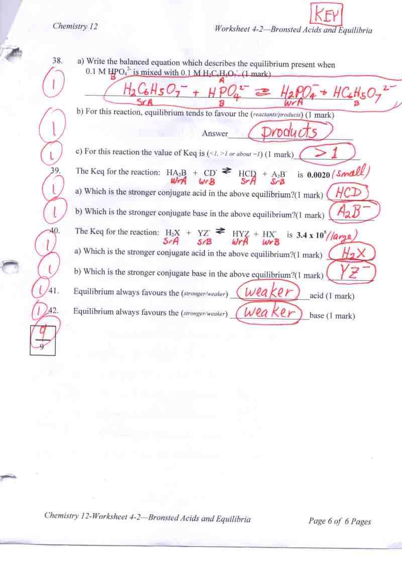 Acid and Base Worksheet Answers