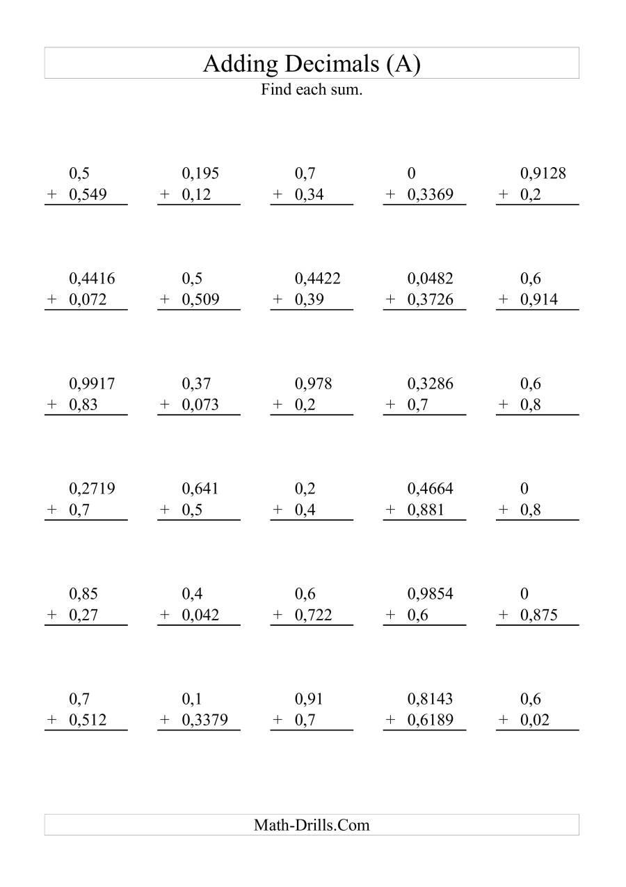Adding Decimals Worksheet Pdf