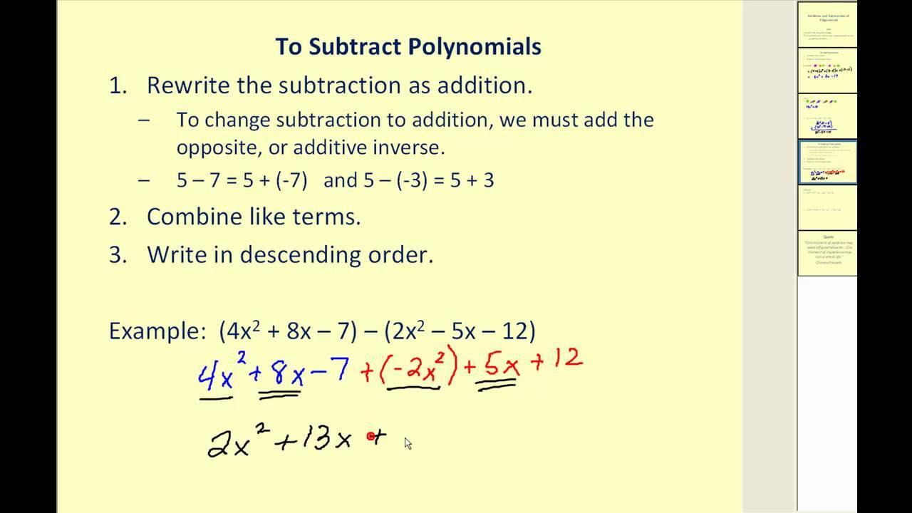 Adding Subtracting Polynomials Worksheet