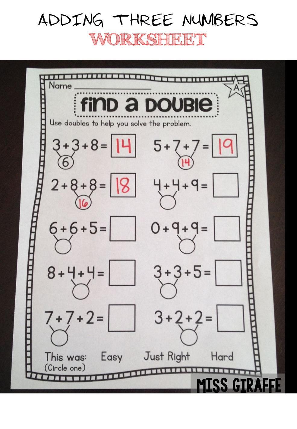 Adding Three Numbers Worksheet