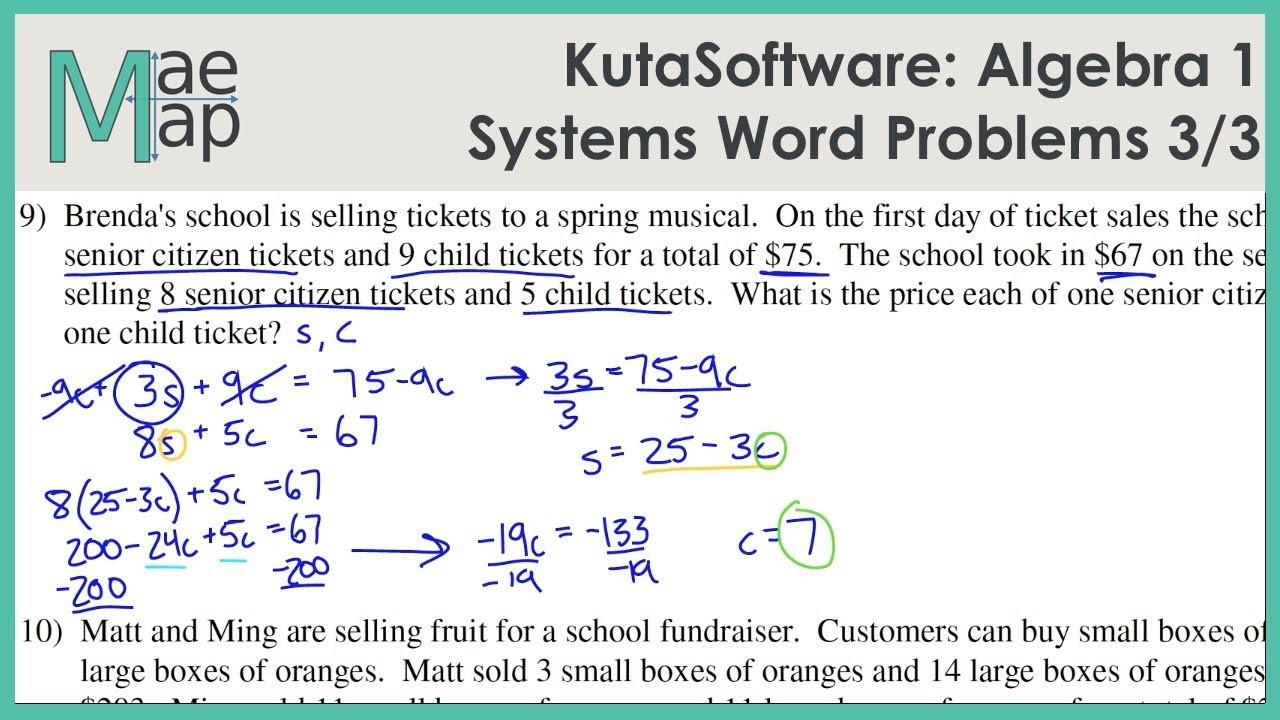 Algebra 1 Word Problems Worksheet