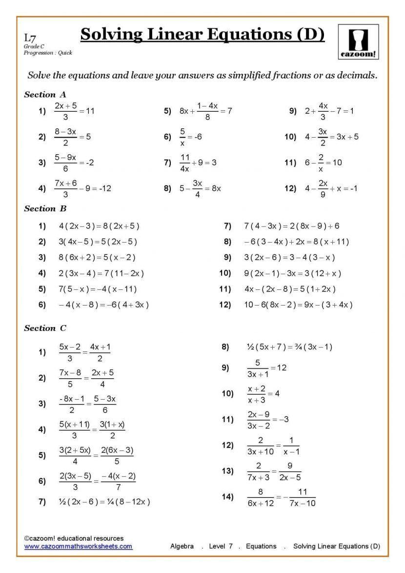 Algebraic Expressions Worksheet Pdf