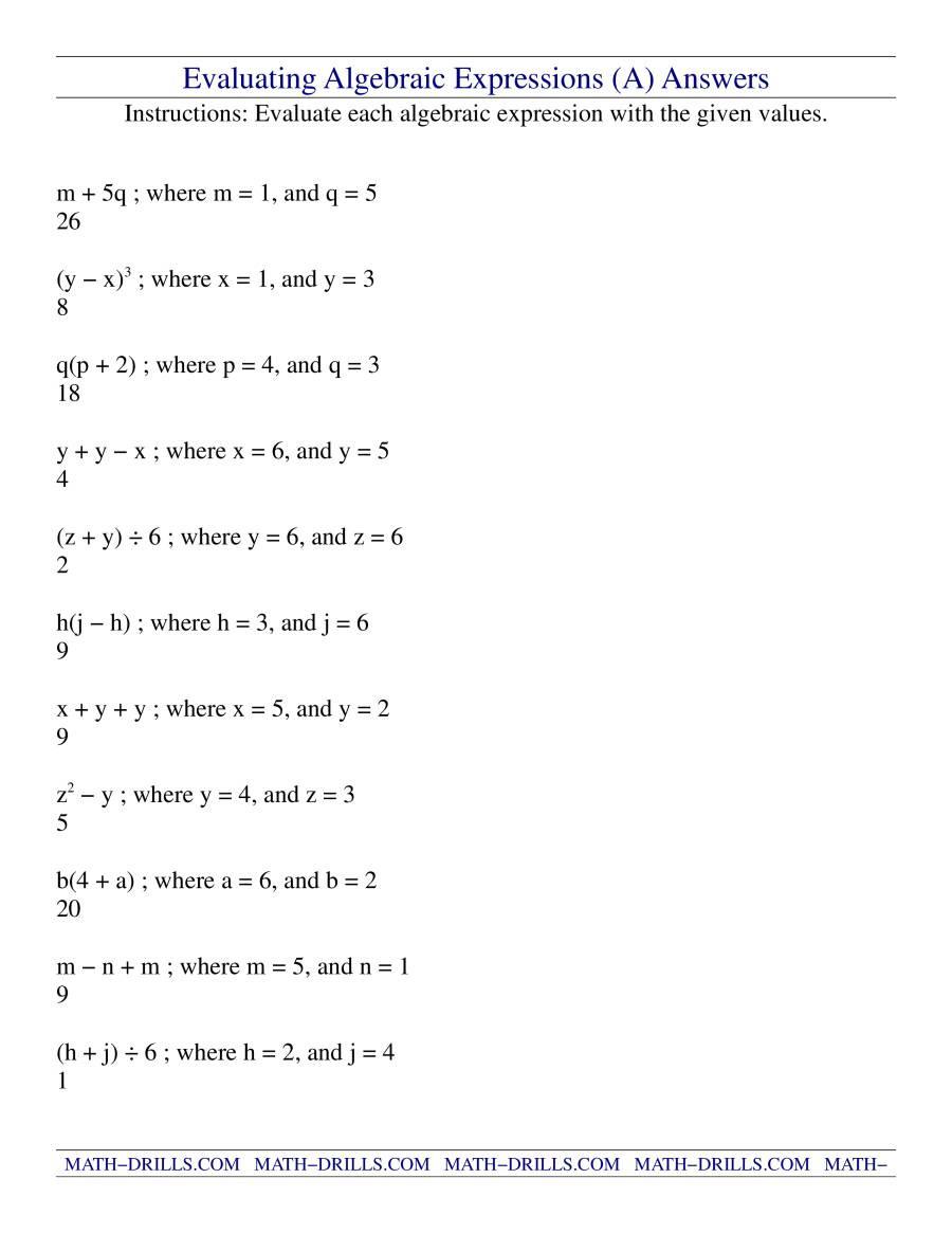 Evaluating Algebraic Expressions A