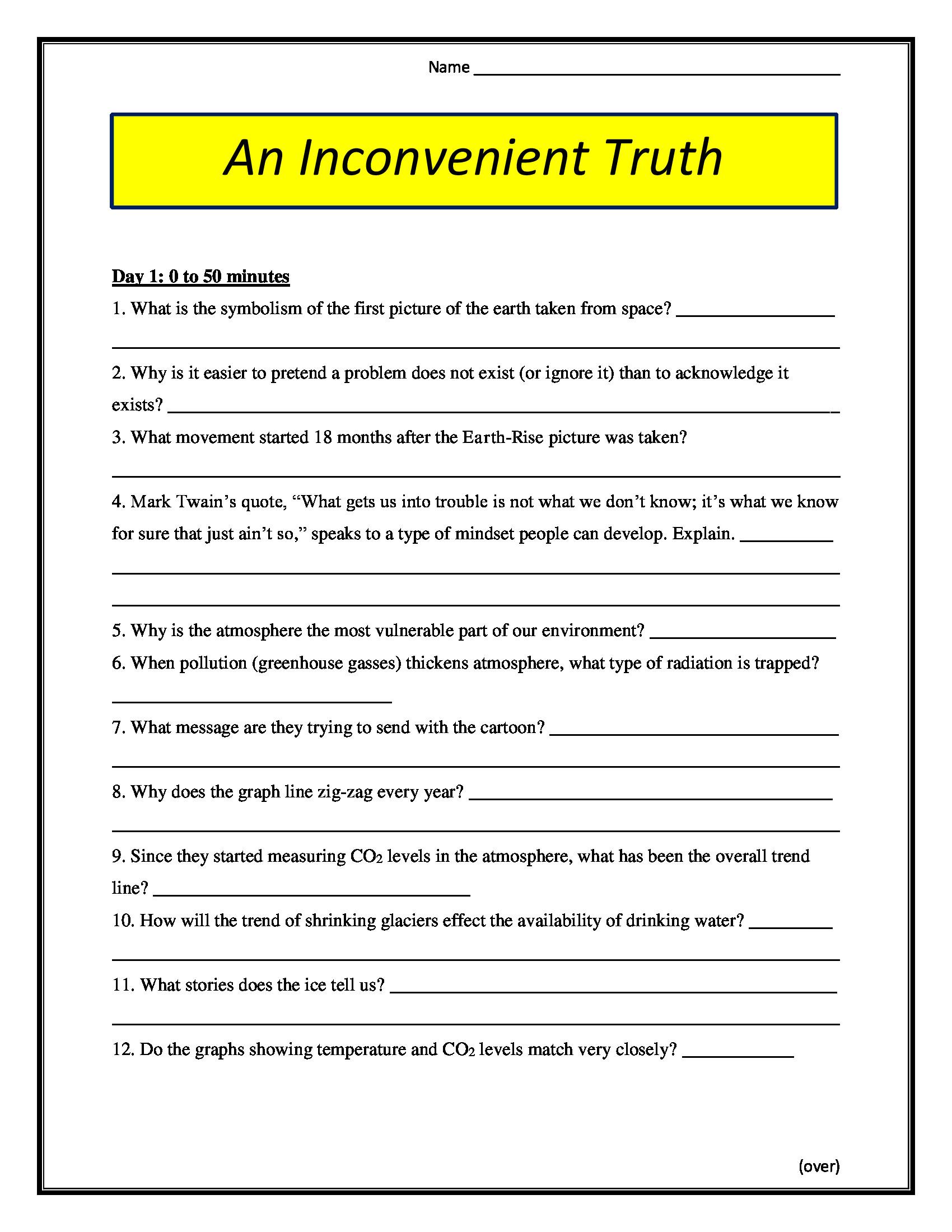 An Inconvenient Truth Worksheet