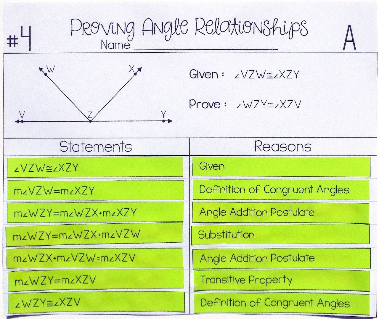 Angle Relationships Worksheet Answers