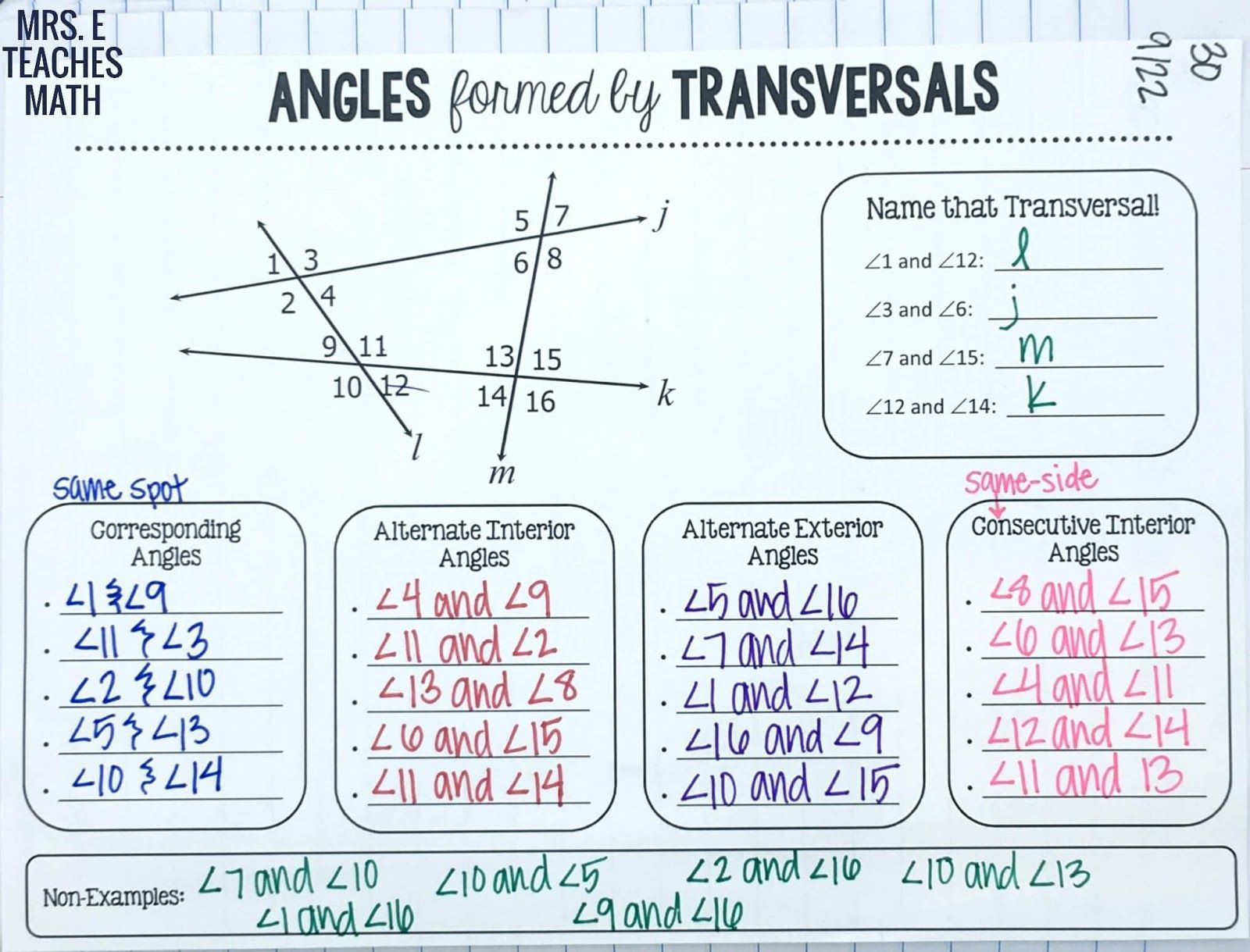 Angles and Parallel Lines Worksheet