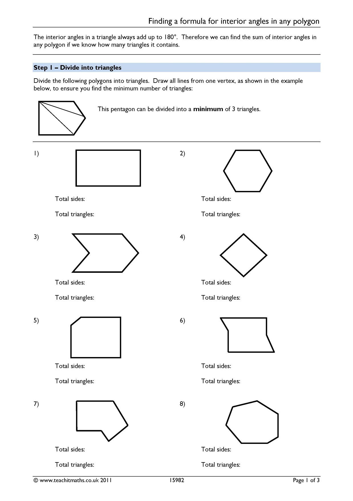 Angles – angles in polygons