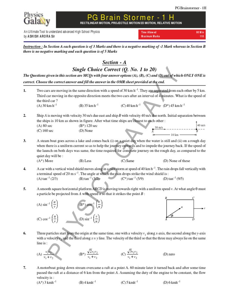 Angular and Linear Velocity Worksheet