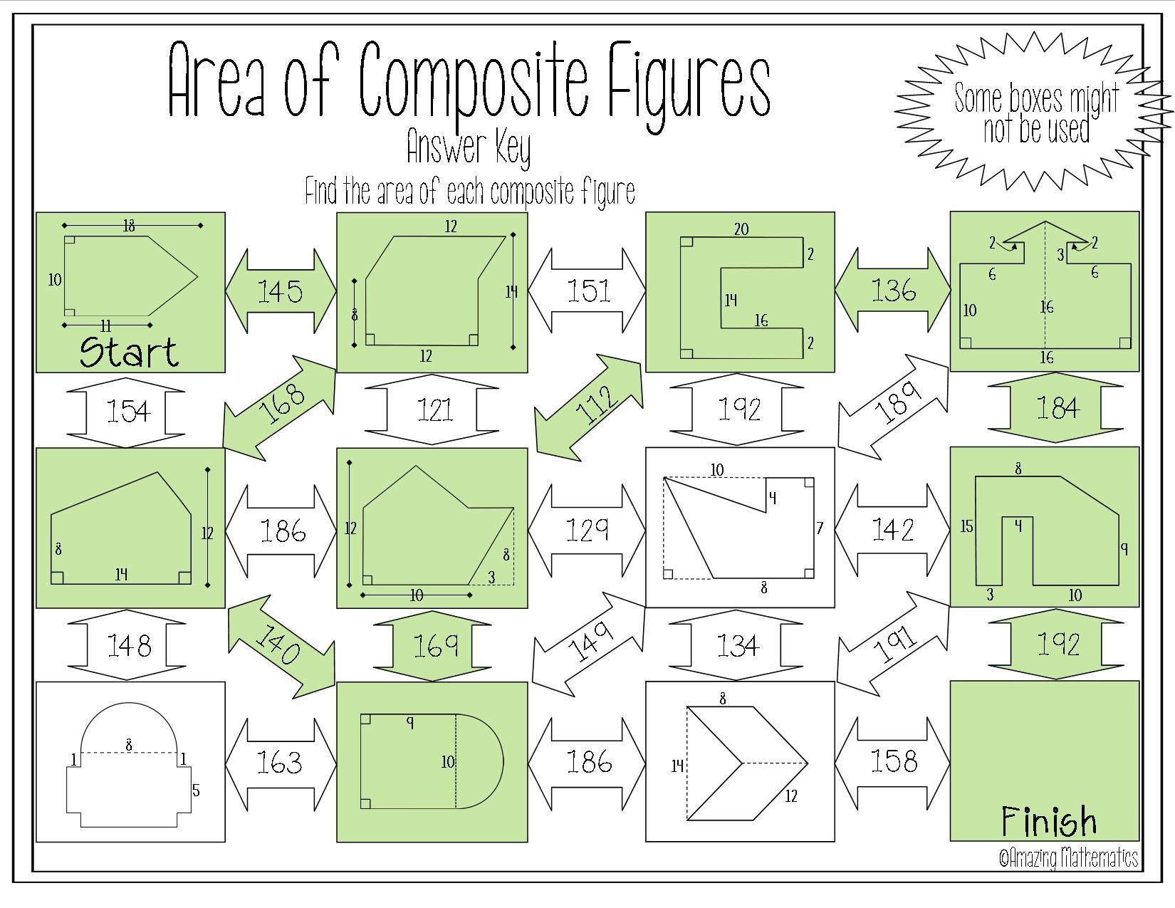 Area of posite Figures Maze Worksheet