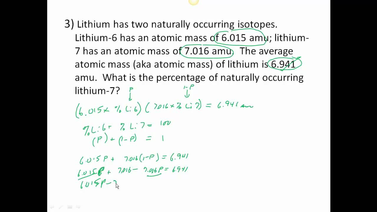 Average atomic Mass Worksheet Answers