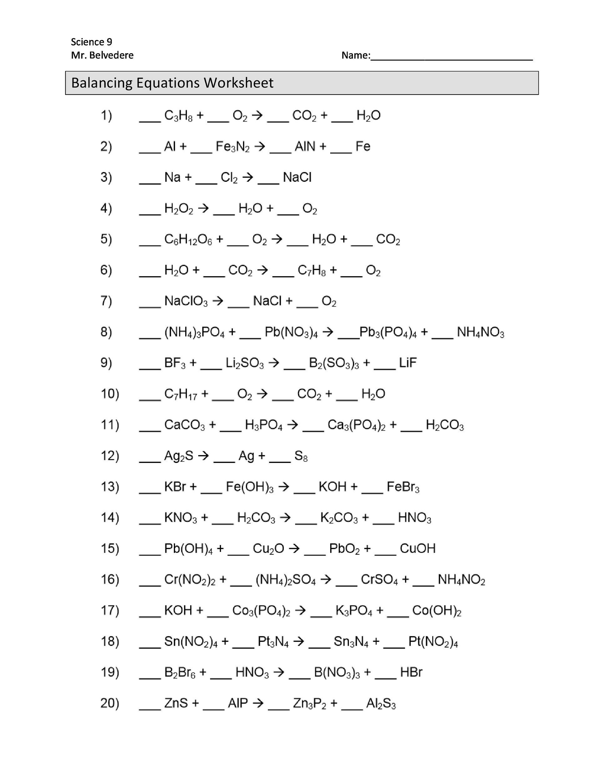 Balancing Chemical Equations Worksheet 1