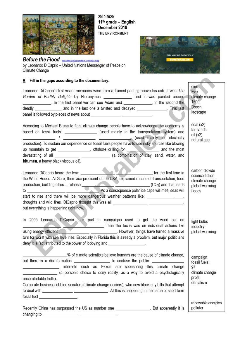 30 before the Flood Worksheet | Education Template