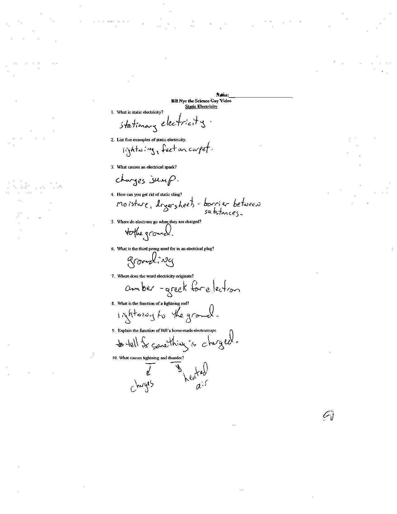 Bill Nye Energy Worksheet Answers