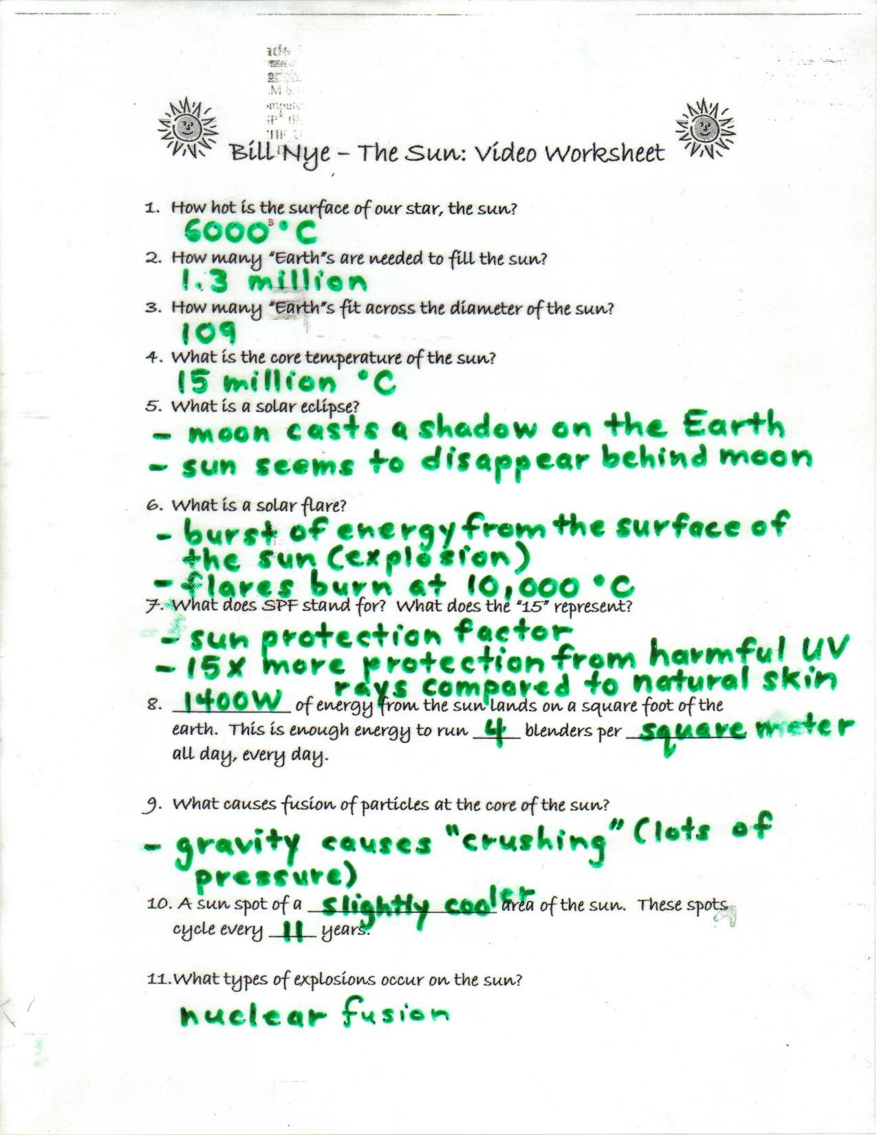 Bill Nye The Science Guy Worksheet Answers