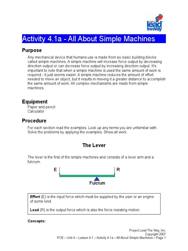 Bill Nye Simple Machines Worksheet