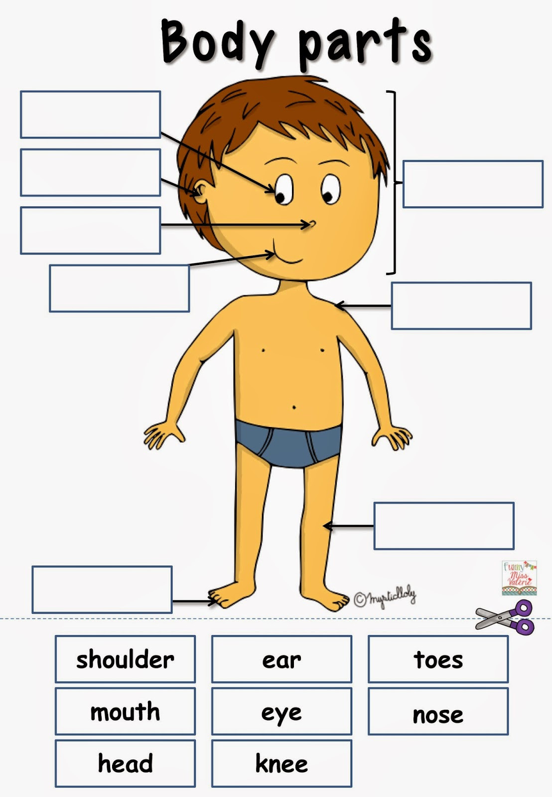 Body Parts In Spanish Worksheet