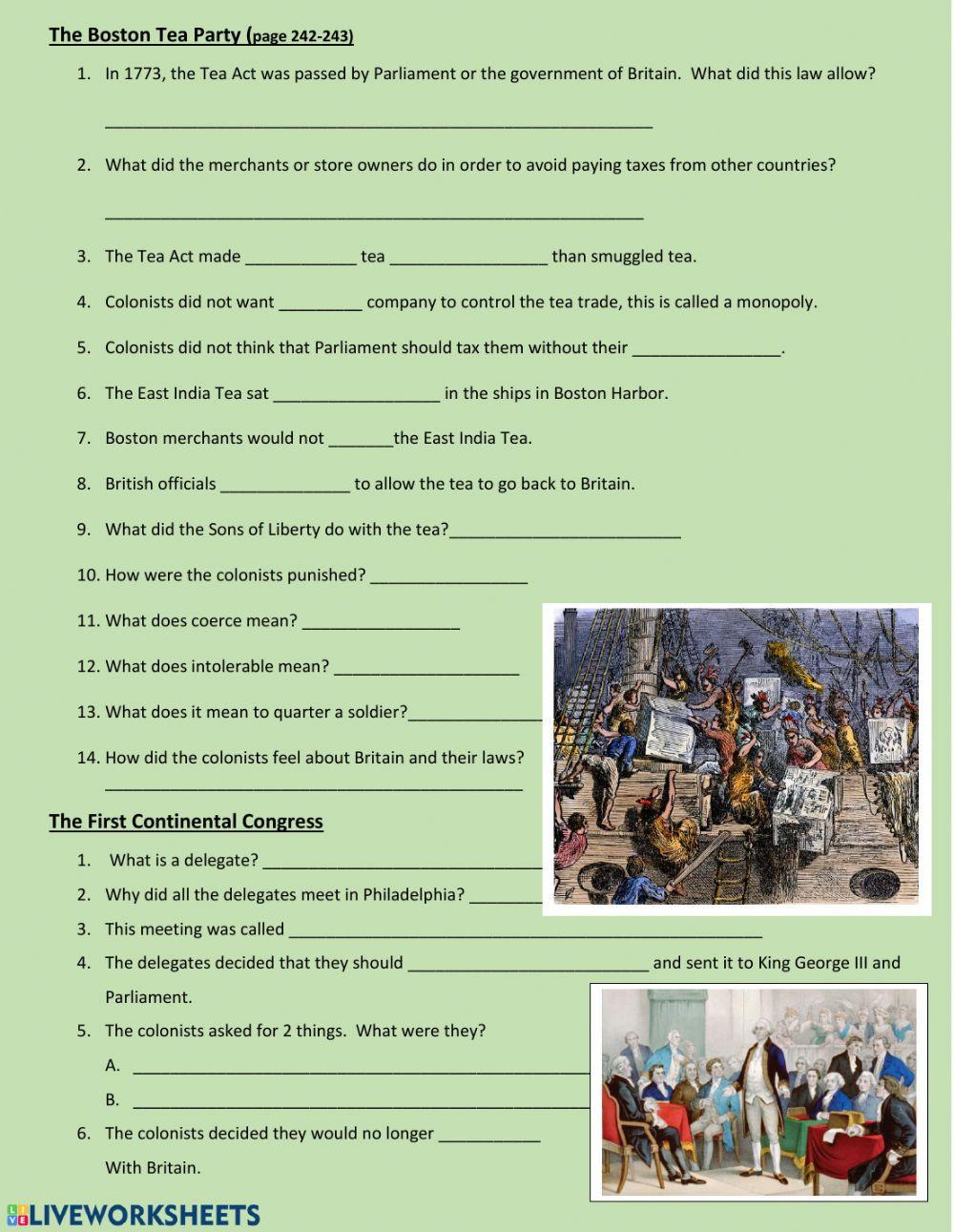 Boston Tea Party Worksheet