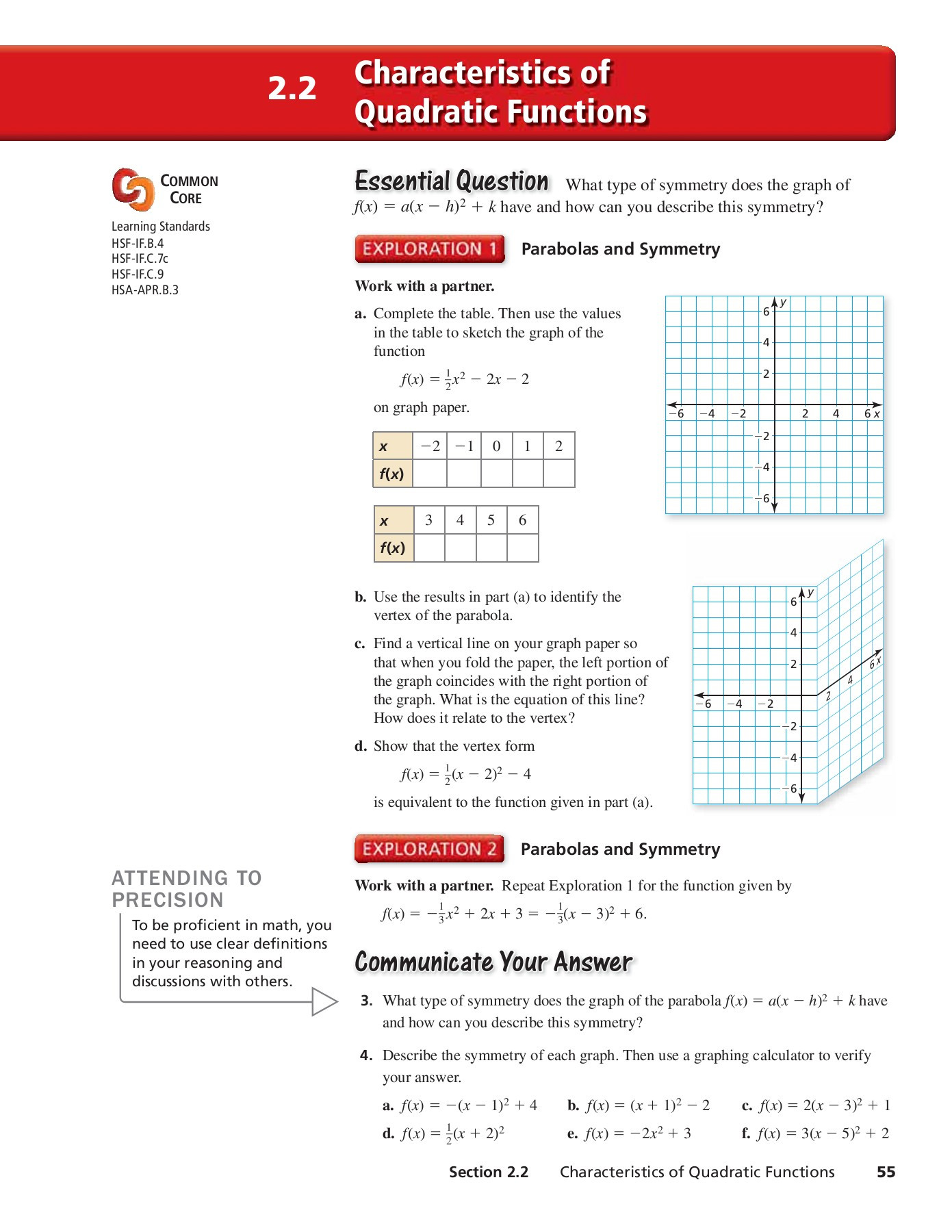 Characteristics Of Quadratic Functions Worksheet