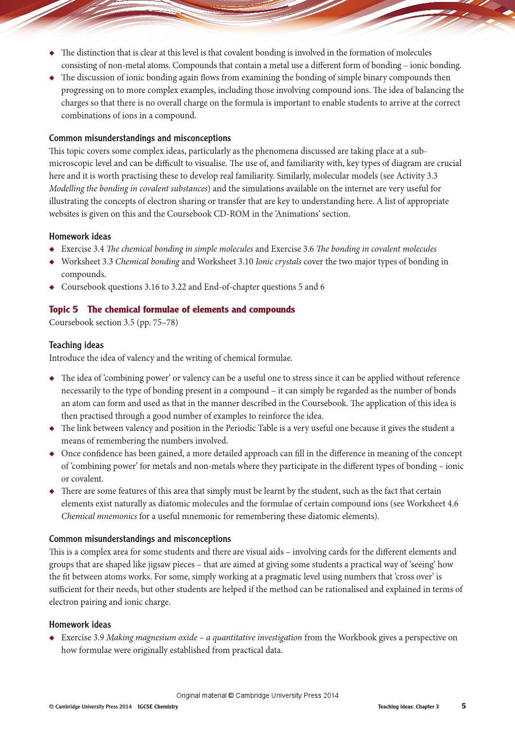 Chemical Bonding Worksheet Answer Key