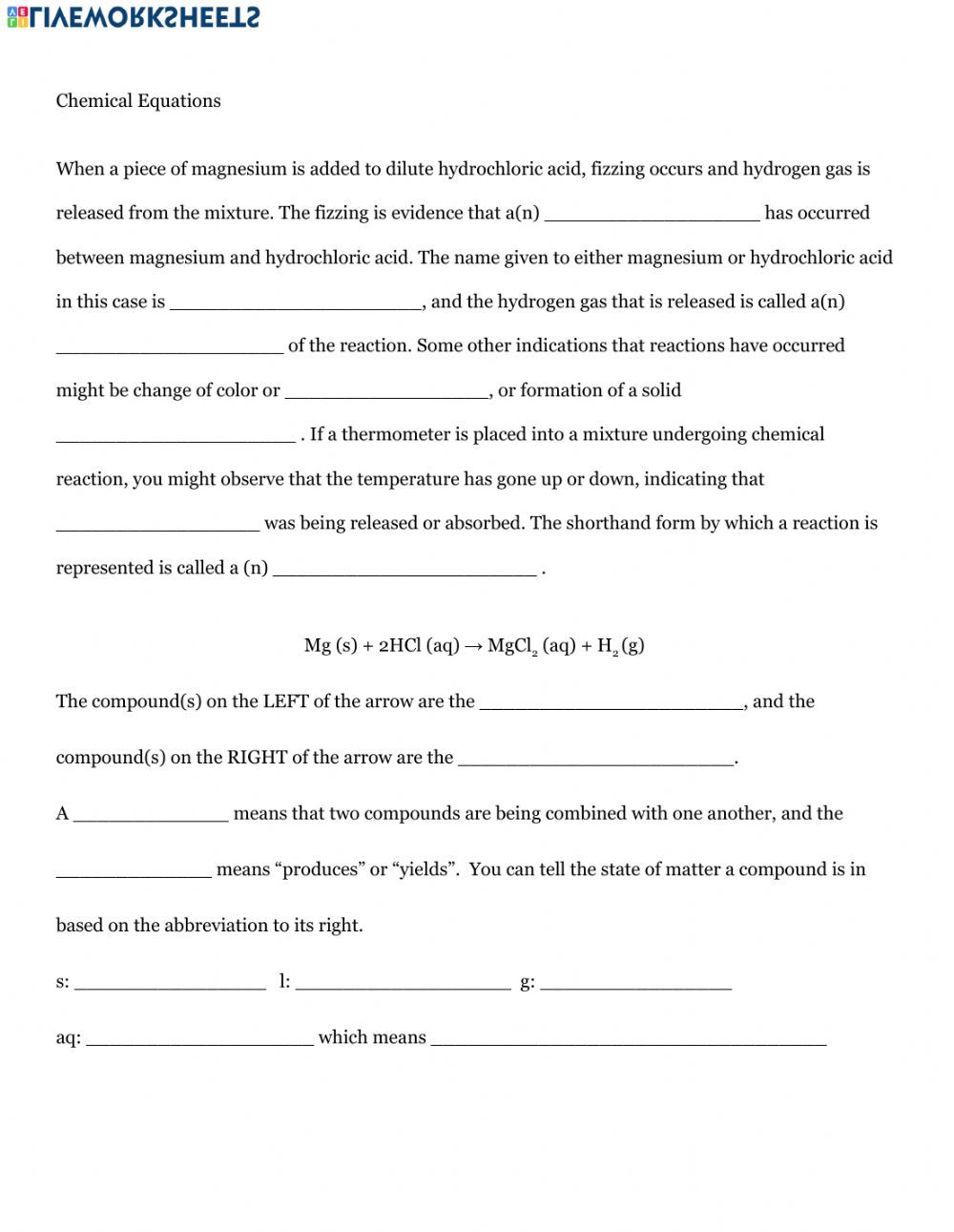 Chemical formula Worksheet Answers
