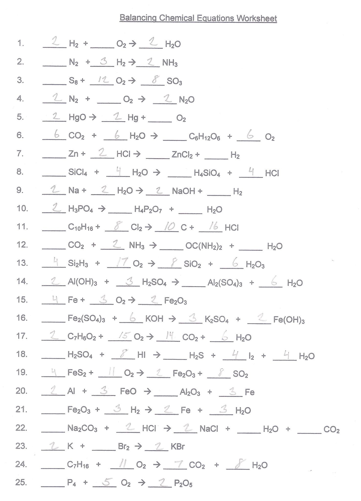 Chemical Reactions Worksheet Answers