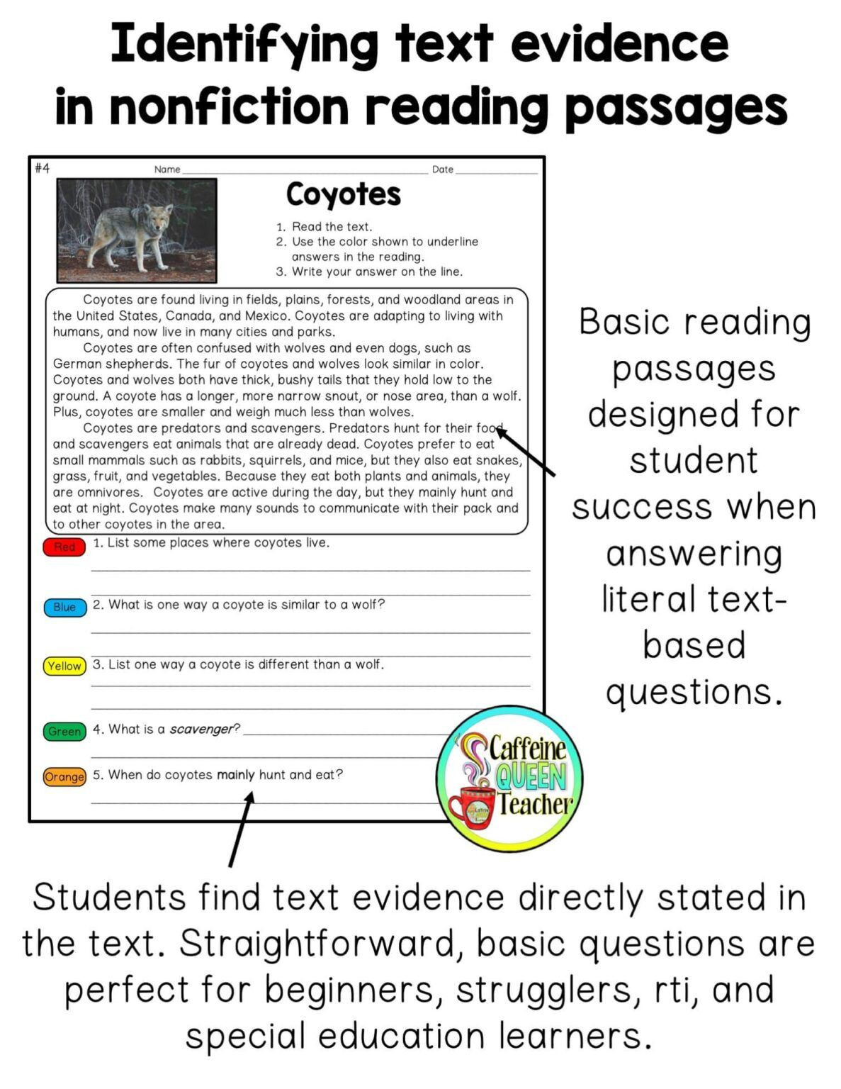 Cite Textual Evidence Worksheet