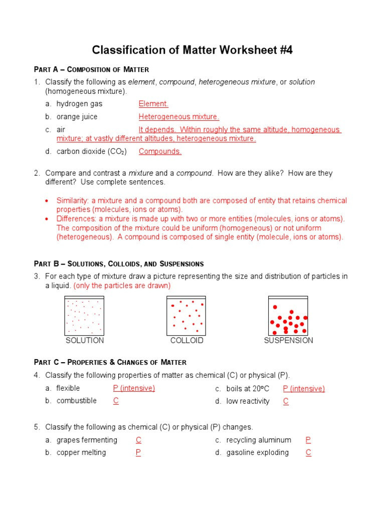 Classification Of Matter Worksheet Answers