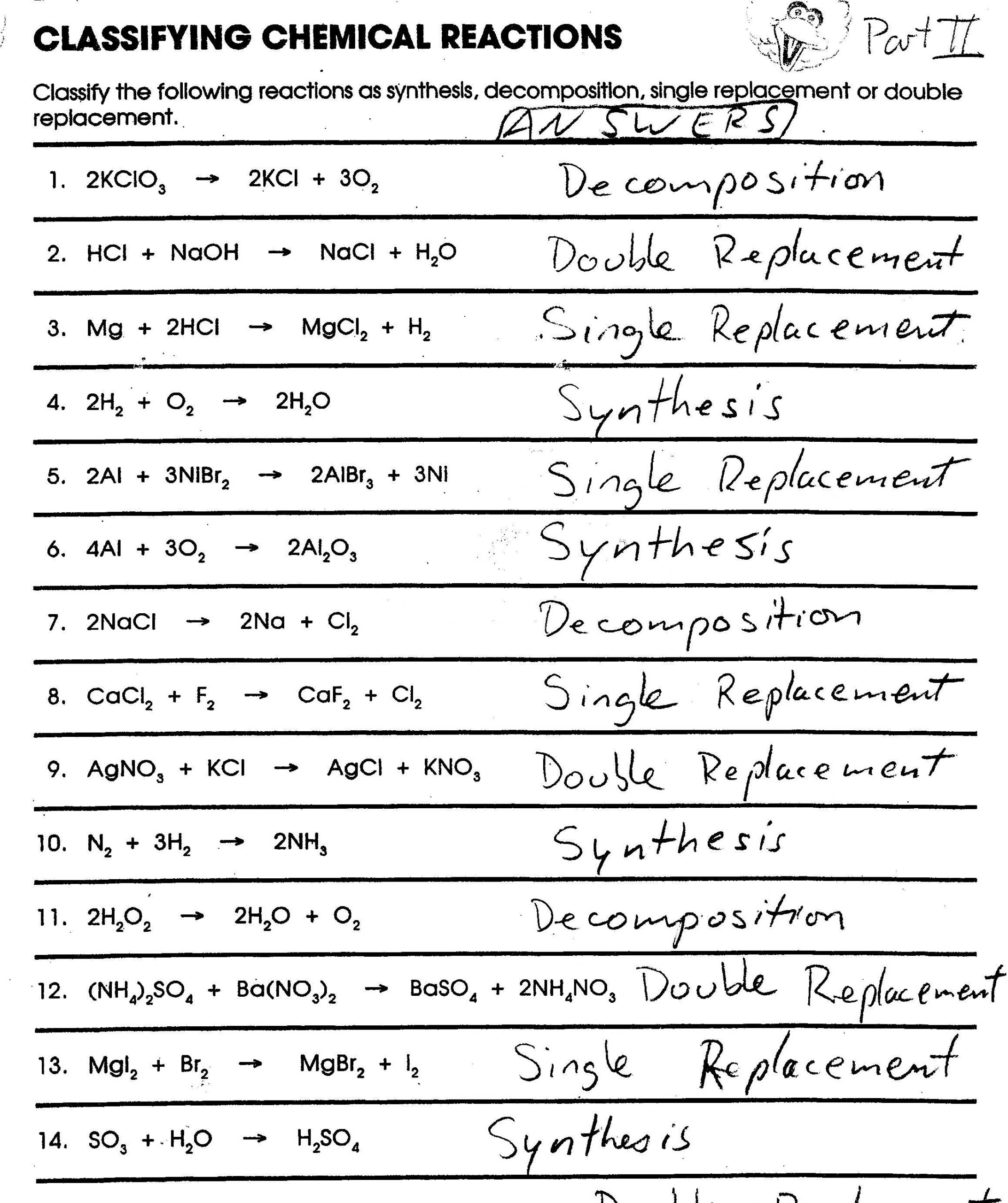 Classifying Chemical Equations Worksheets
