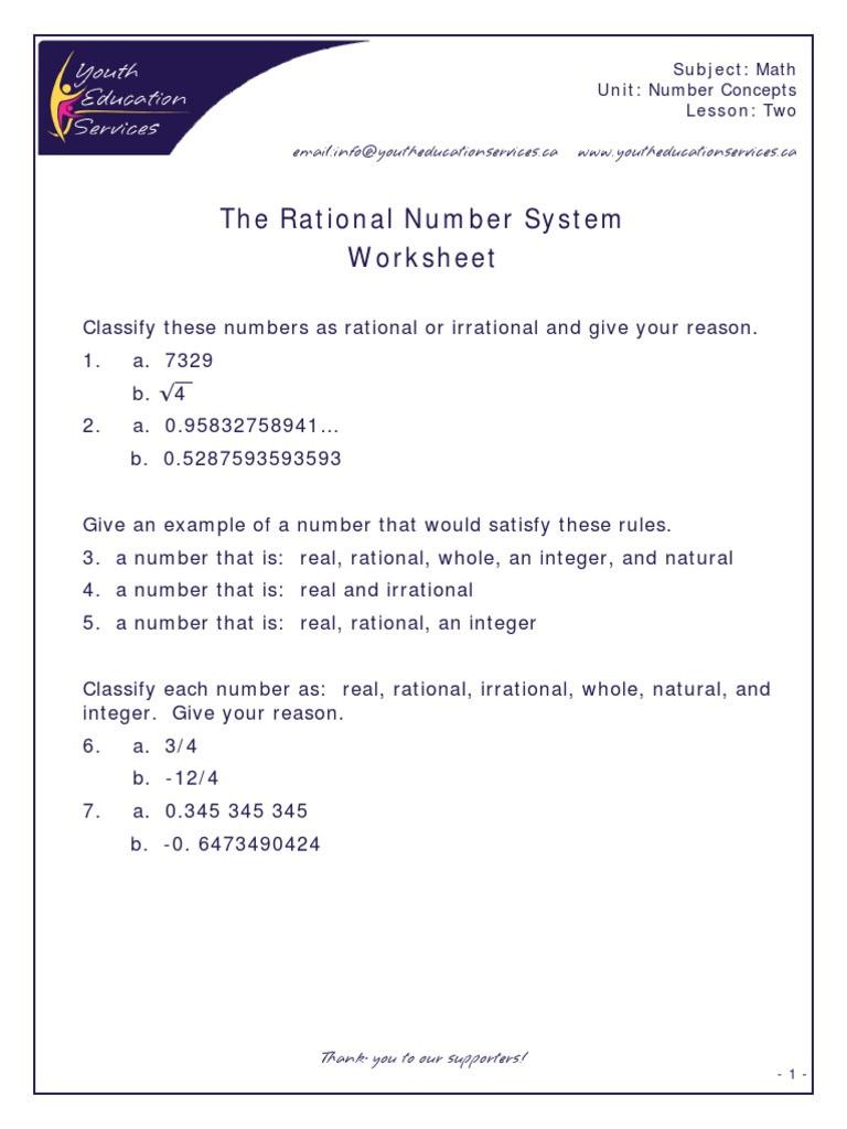 Classifying Rational Numbers Worksheet