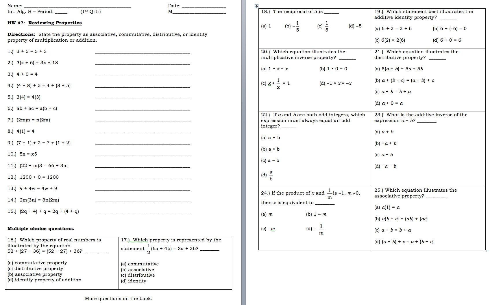 Combining Like Terms Worksheet