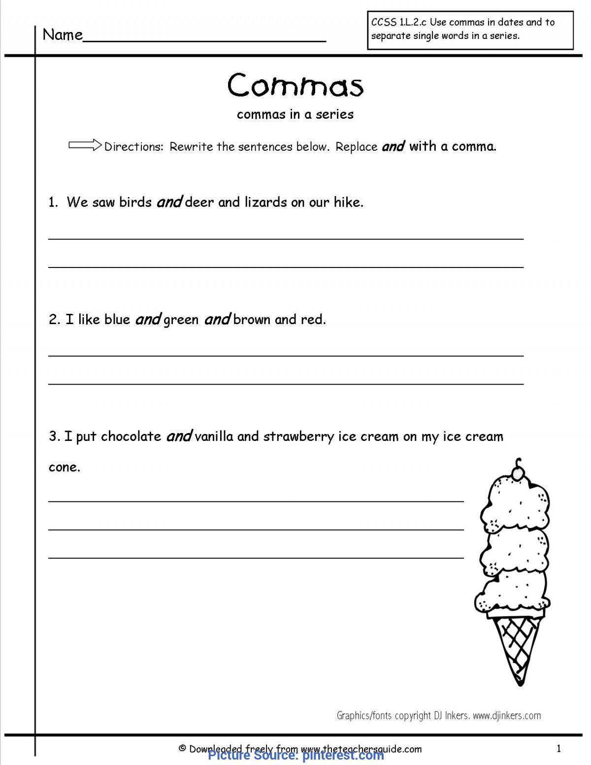 Commas In A Series Worksheet