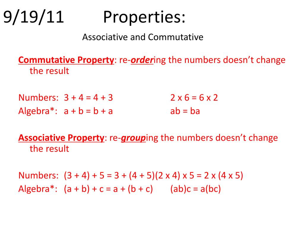 Commutative and associative Properties Worksheet