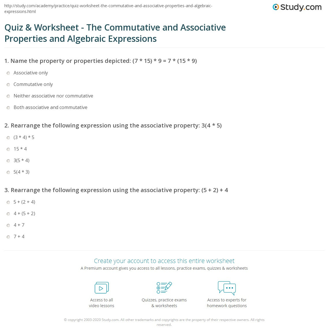 Quiz & Worksheet The mutative and Associative