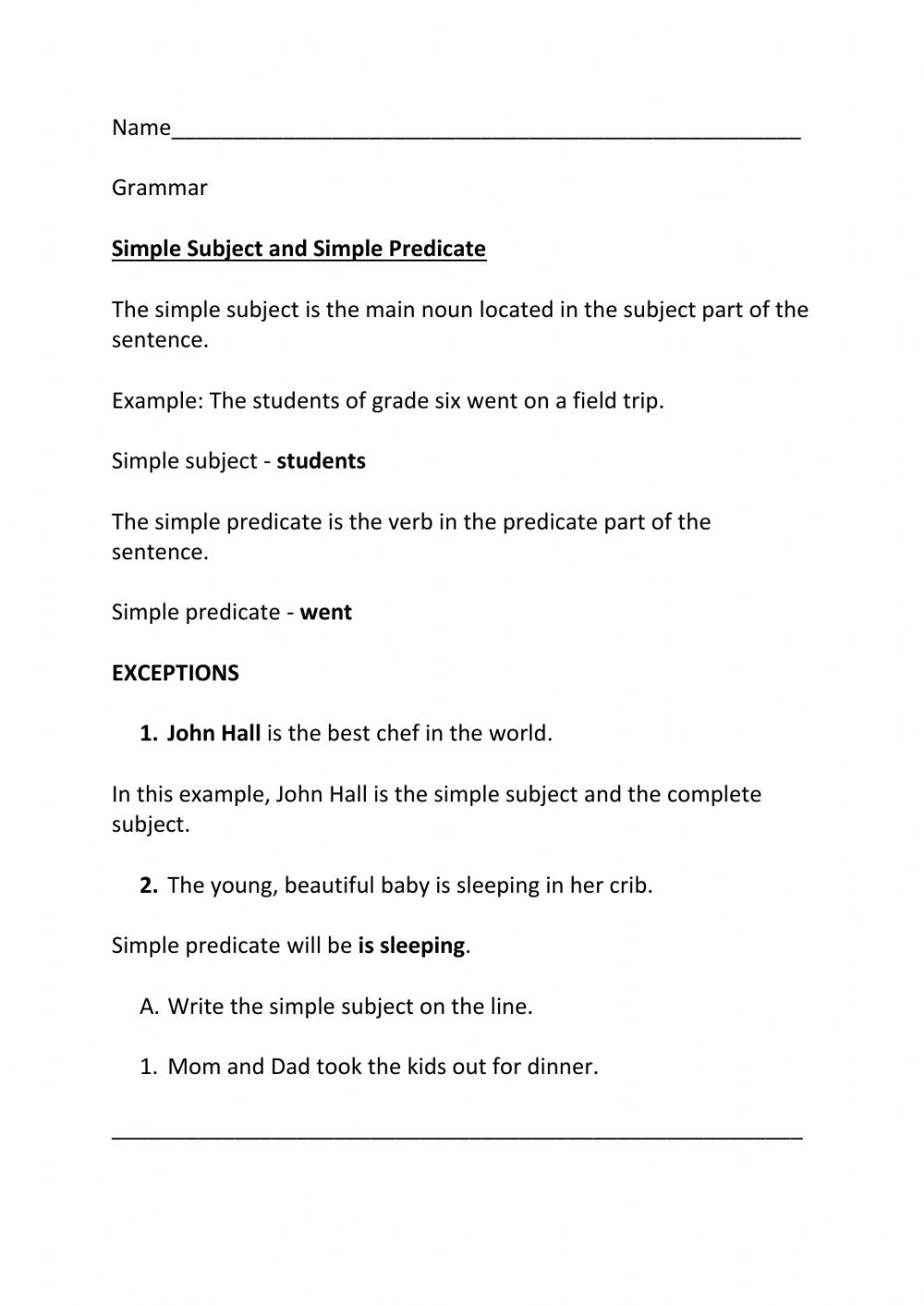 Complete Subject and Predicate Worksheet