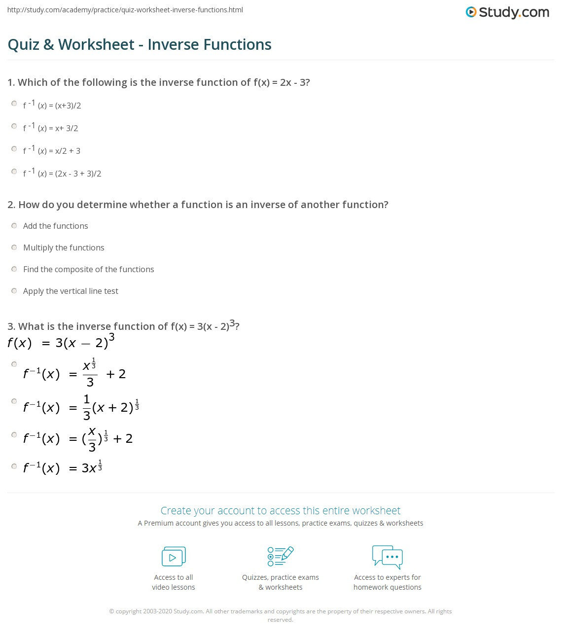 Composite Functions Worksheet Answers