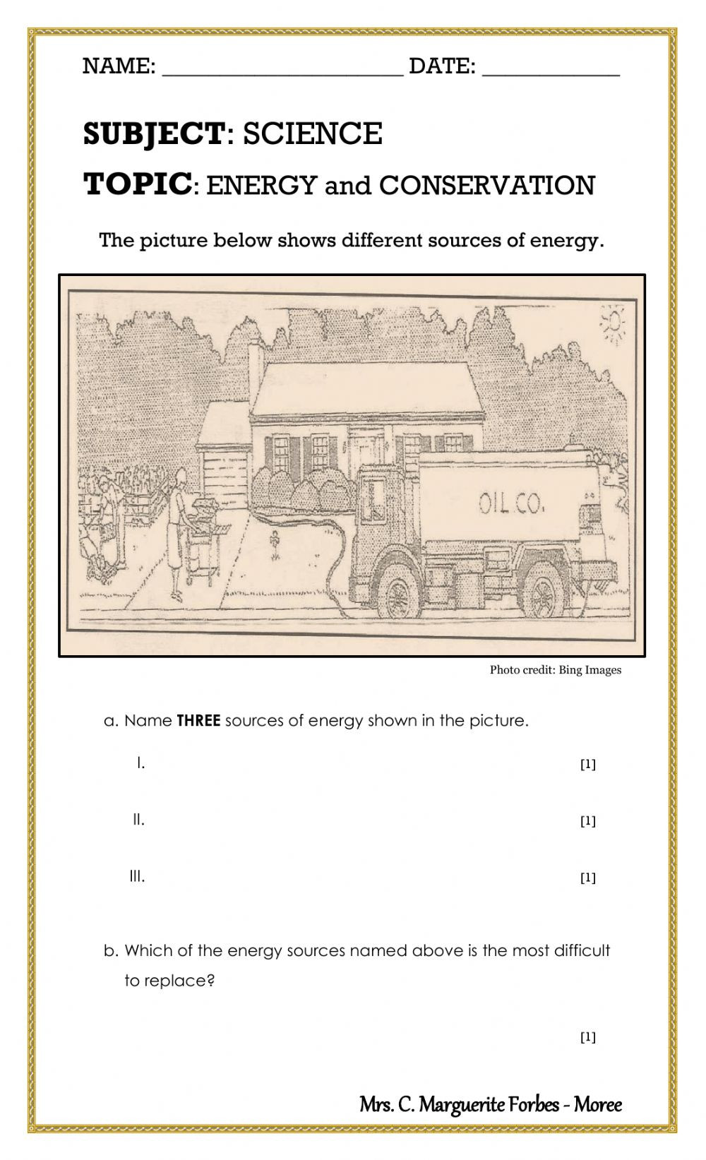 Conservation Of Energy Worksheet