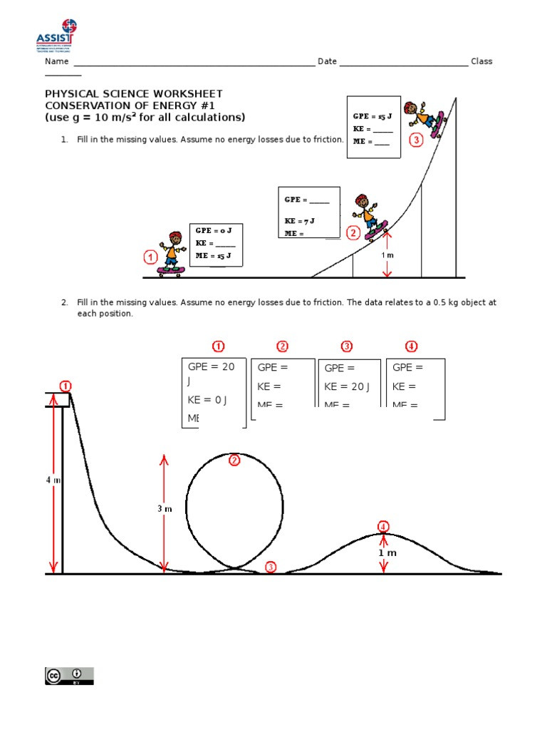 Conservation of Energy Worksheet 1 1 Potential Energy