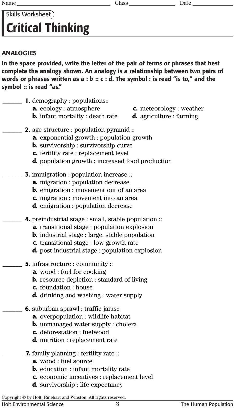 Critical Thinking Skills Worksheet