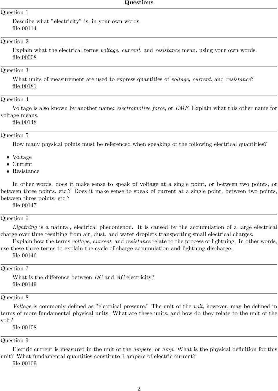 Current Voltage and Resistance Worksheet