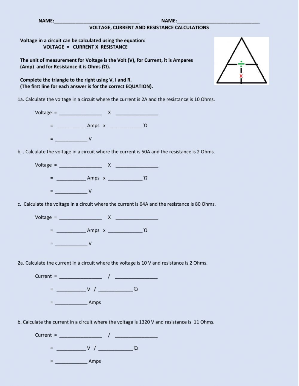Voltage current resistance Interactive worksheet