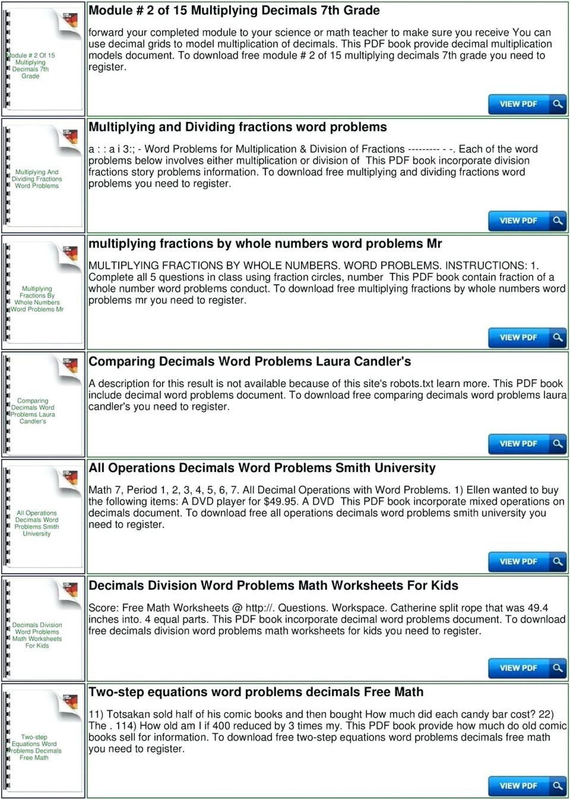 Decimals Word Problems Worksheet