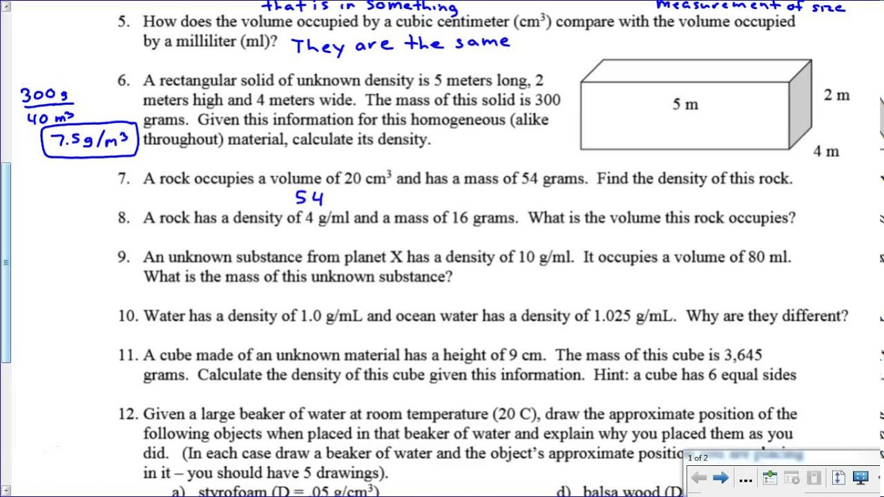 Density Practice Problems Worksheet