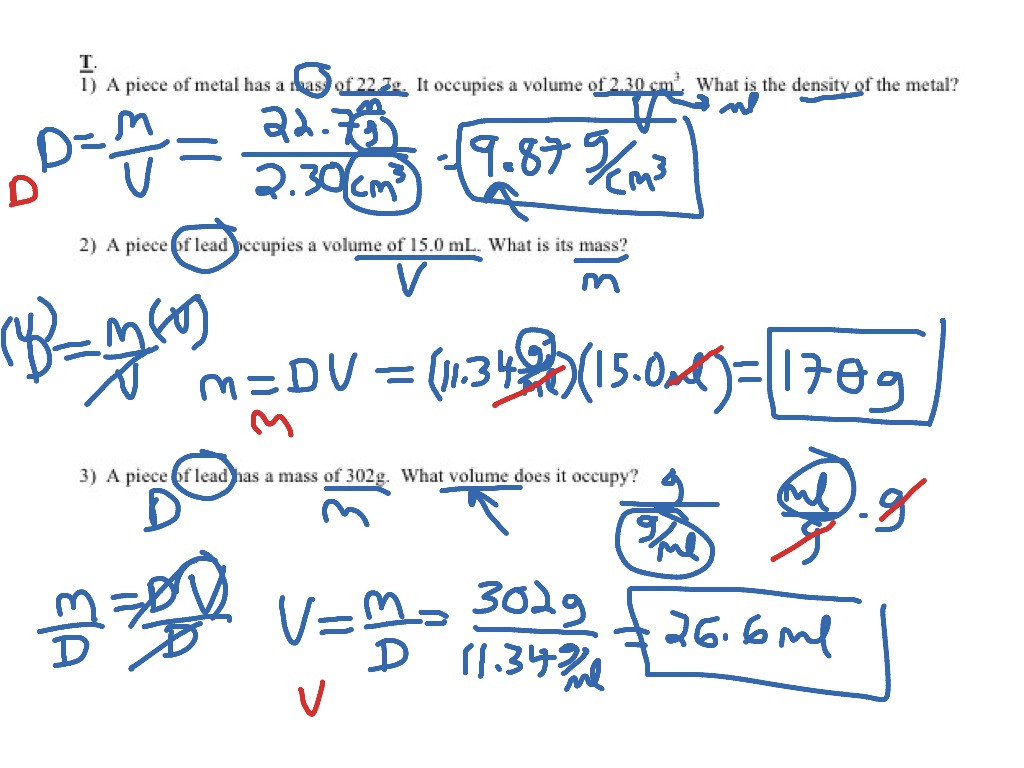 Density Problems Worksheet with Answers