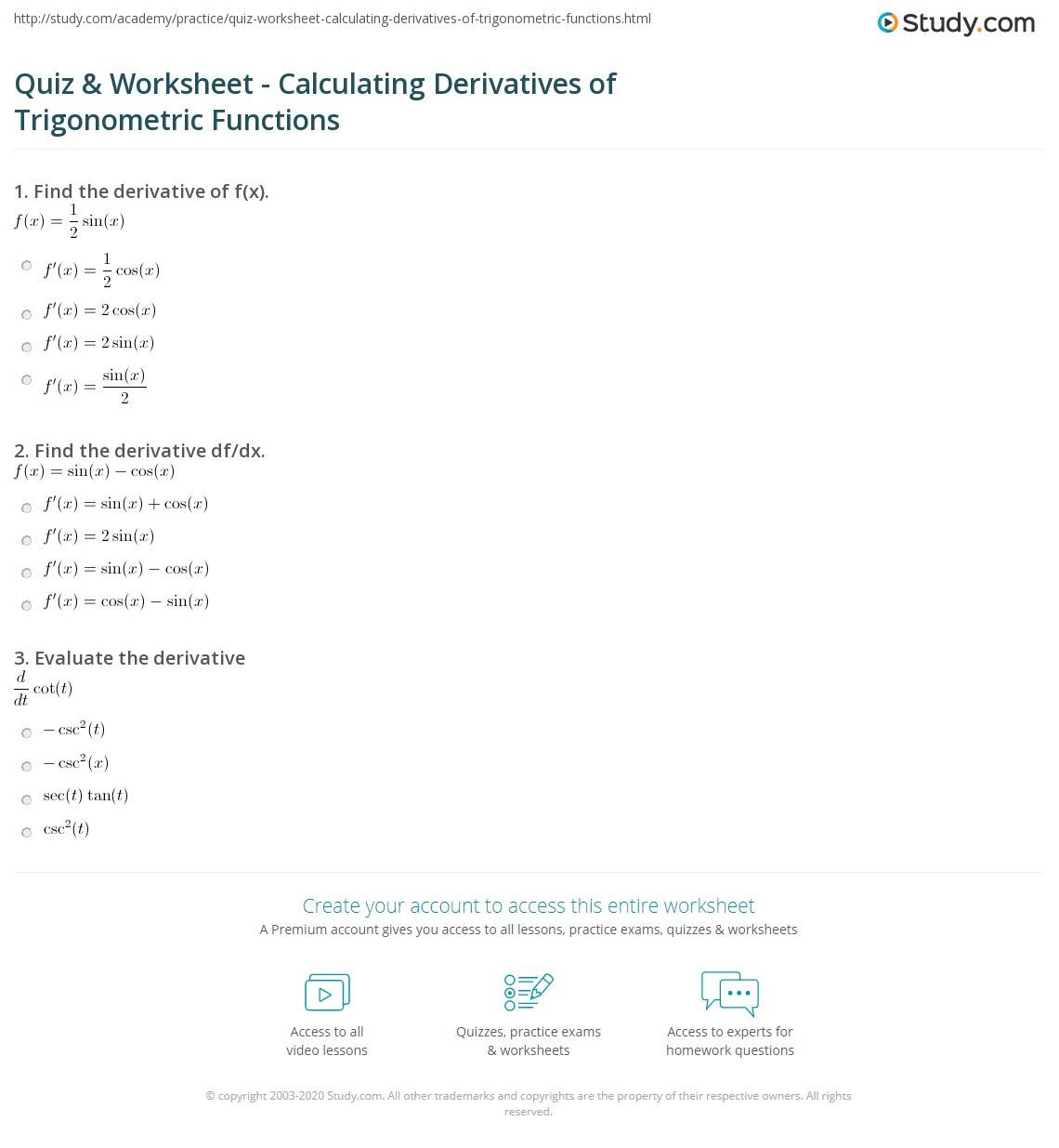 Quiz & Worksheet Calculating Derivatives of Trigonometric
